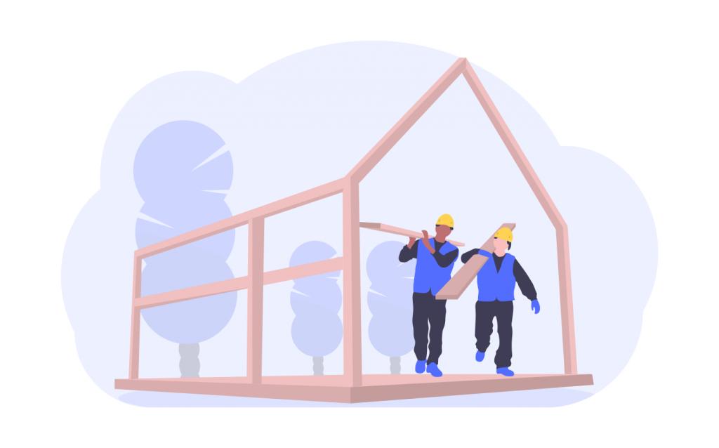 Byggfirma bygger hus